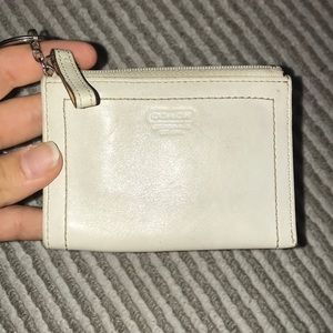 Coach white leather coin purse